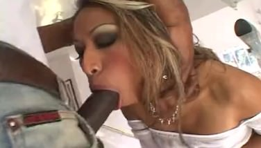 Asian pussy intruded by black dick