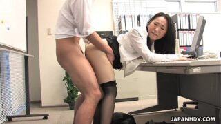 Hot Japanese secretary in mini skirt fucks with two co-workers